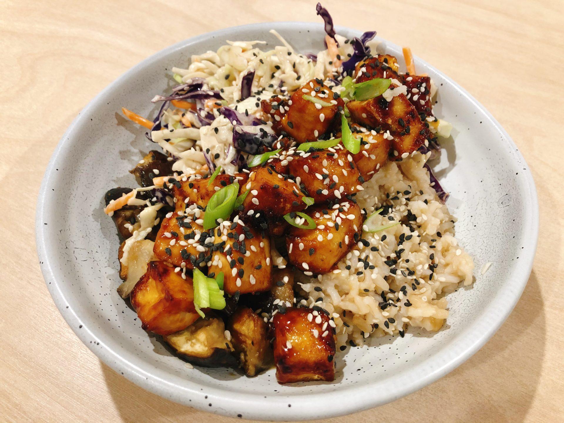 Sticky Teriyaki Tofu And Eggplant Bowl Recipe